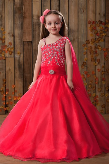 A-Line Straps Floor-length Beadings Flower Girl Dress