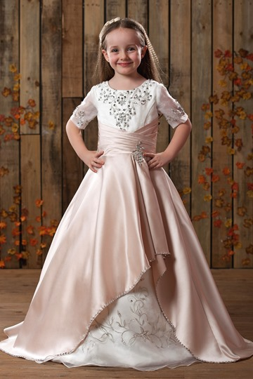 Princess Scoop Embroidery Applique Flower Girls Dress