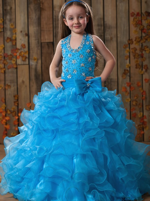 A-line Halter Floor-length Ruffles Beaded Flower Girl Dress