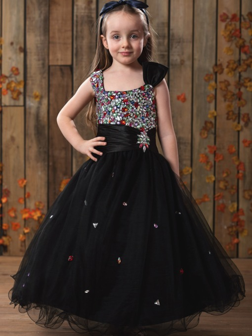 A-Line Sqaure Ankle-Length Rhinestone Flower Girl Dress