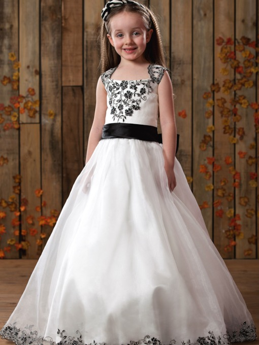A-Line Square Floor-length Satin Flower Girls Dress