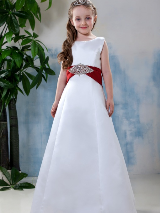 A-line Scoop Bead Flower Girl Dress