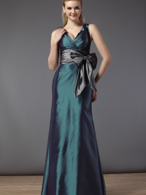 Sheath Column V-Neck Sleeveless Floor Length Bridemaid Dress