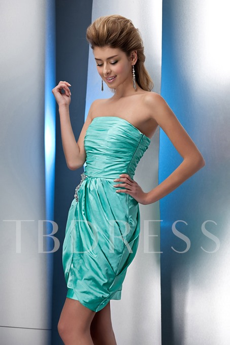 Strapless Short/Mini-Length Ruched Beading Cocktail Dress
