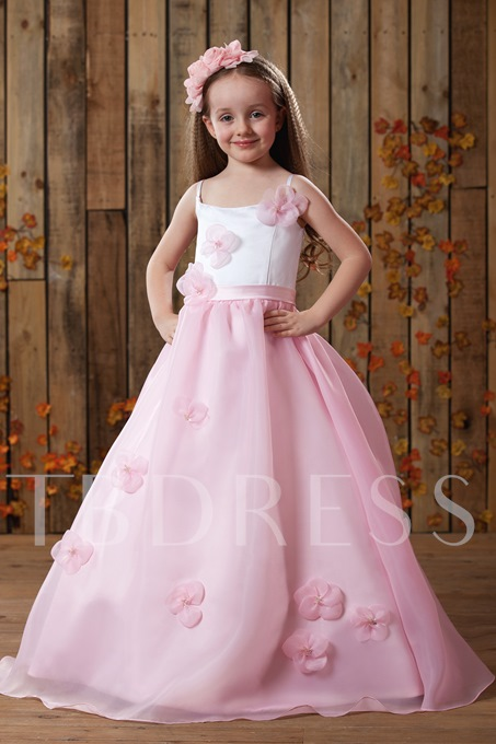 Spaghetti Straps Zipper-Up A-line Flower Girl Dress
