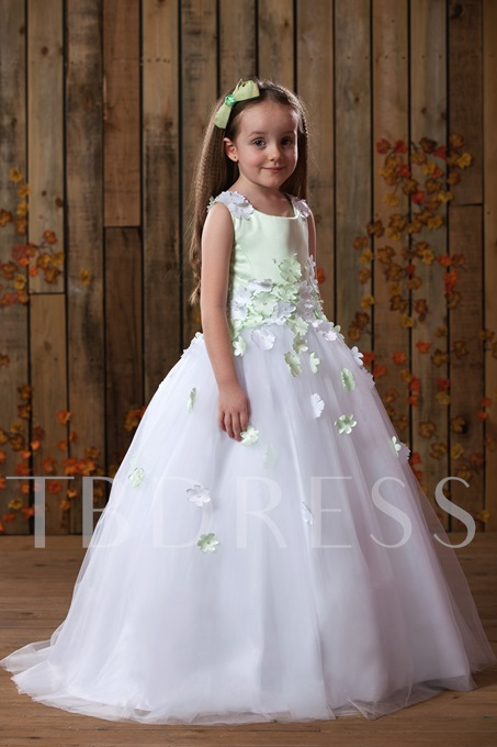 Scoop Ball Gown Floor-Length Appliques Flower Girl Dress