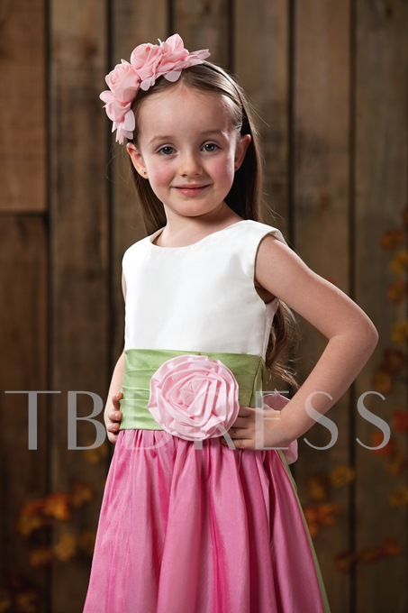 A-line Ankle-length Bateau Sash Flower Girl Dress