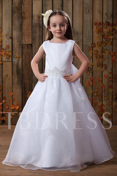 Square Ankle-Length Flower Girl Dress