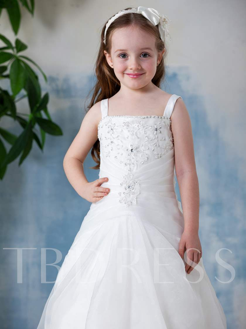 A-Line Square Neckline Floor-Length Flower Girl Dress
