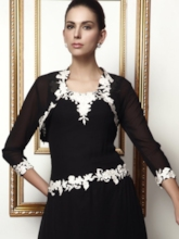 Floral Laciness Trimmed Translucent Lady's Evening/Wedding Jacket