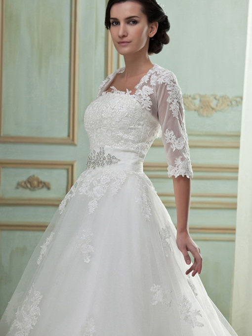 Half Sleeve Appliques Wedding Jacket