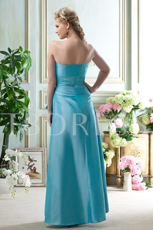 A Line Strapless Floor-Length Bridesmaid Dress
