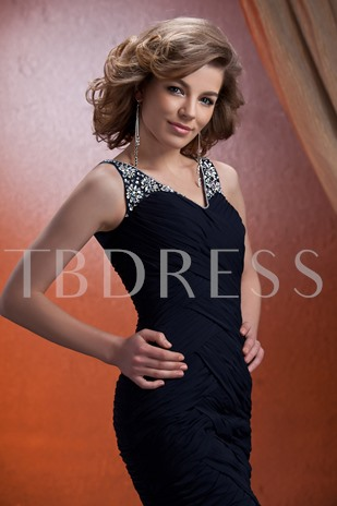Straps Beading Sheath Mother of Bride Dress