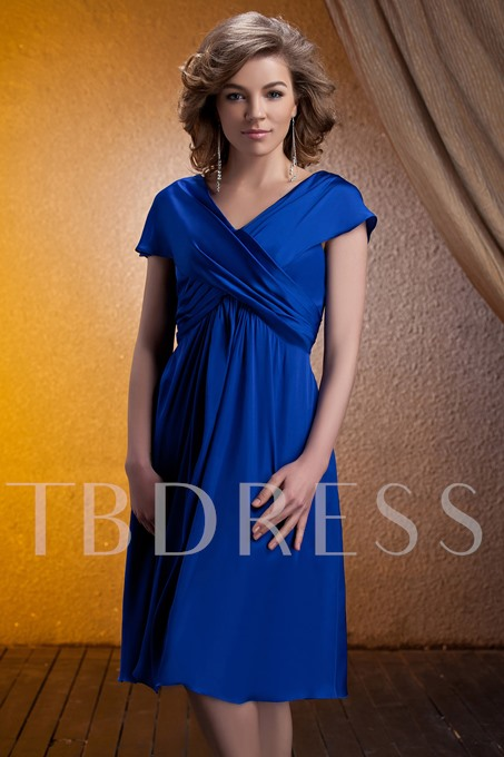 Ruched Cap Sleeve V-Neck Tea-Length Mother of the Bride Dress