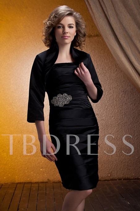 Beading Pleats Strapless Column Mother Dress With Jacket
