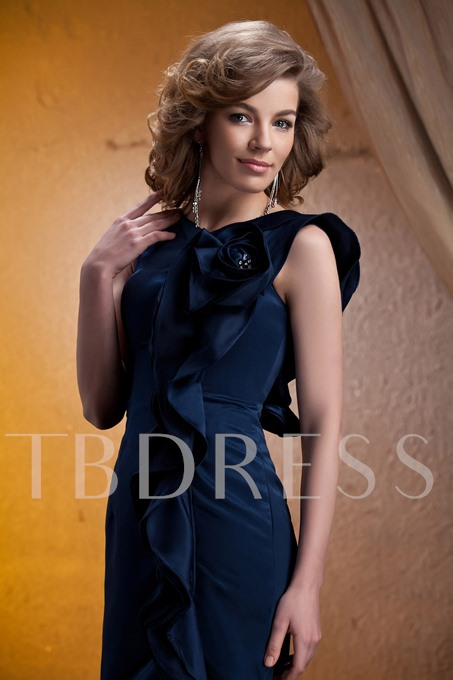 Straps Ruffles Sheath Short Mother of the Bride Dress