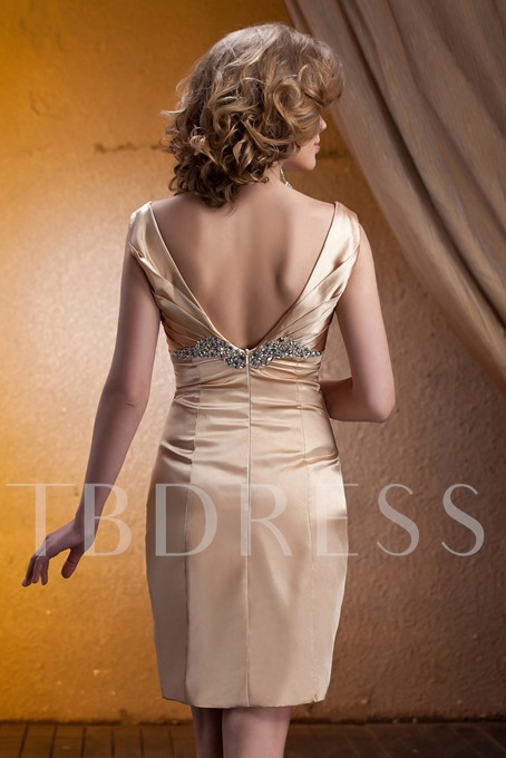 Beaded Sheath Short Mother of the Bride Dress With Jacket