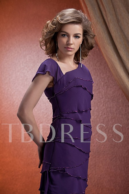Cap Sleeve Sequined Tiered Mother of The Bride Dress