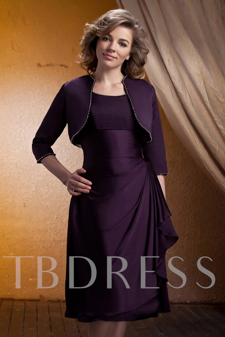 Beaded Square Neck Mother of Bride Dress With Jacket