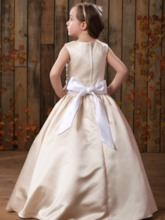 A-Line/Princess Floor length Scoop Satin Flower Girl Dress