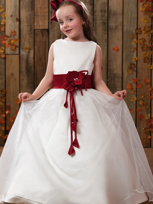 A-Line Round Neck Floor-Length Satin Flower Girl Dress