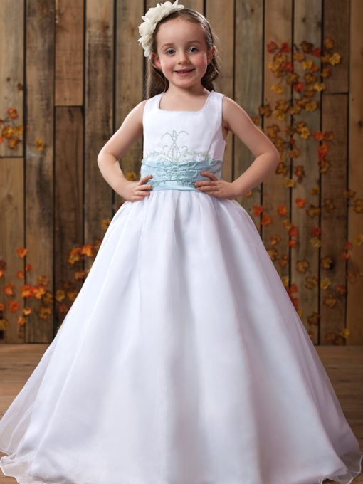 A-Line Square Neckline Straps Ribbon Floor-Length Flower Girls Dress