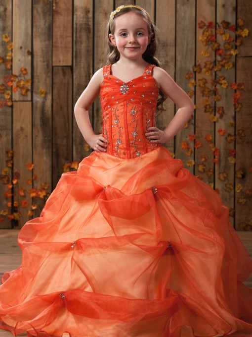 A-line Straps Floor-length Beading & Ruched Flower Girl Dress