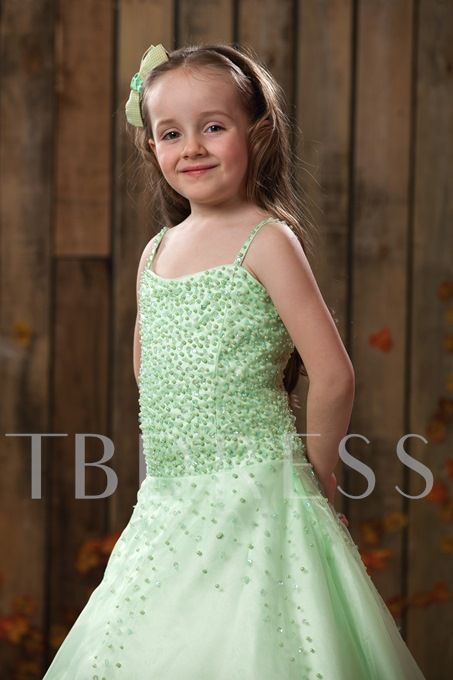A-line Spaghetti Straps Lace-Up Flower Girl Dress