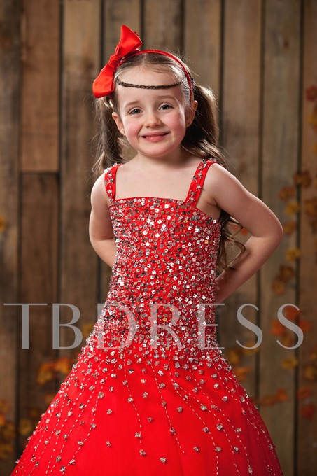 Ball Gown Square Neckline Floor-length Sequins Flower Girl Dress