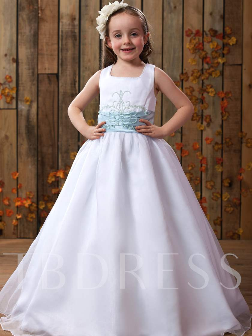ae16ae913 A-Line Square Neckline Straps Ribbon Floor-Length Flower Girls Dress. Sold  Out
