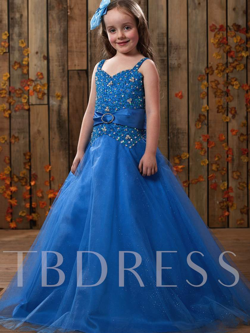 Ball Gown Spaghetti Straps Floor-length Beading Flower Girl Dress