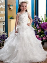 Ball Gown Tiered & Beaded Floor-LengthFlower Girl Dress