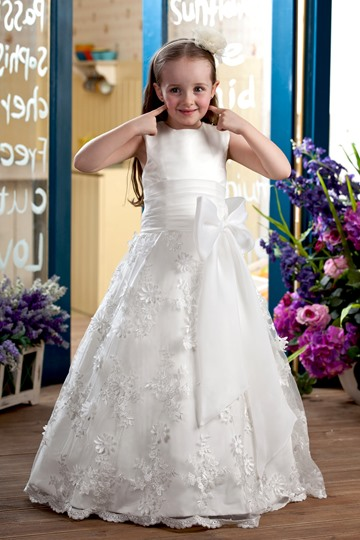 Appliques Bowknot Flower Girl Dress