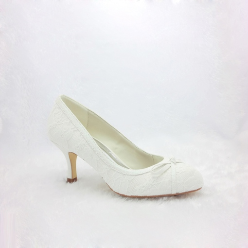 Lace Upper Closed Toe Stiletto Heels Wedding Shoes for Bridal