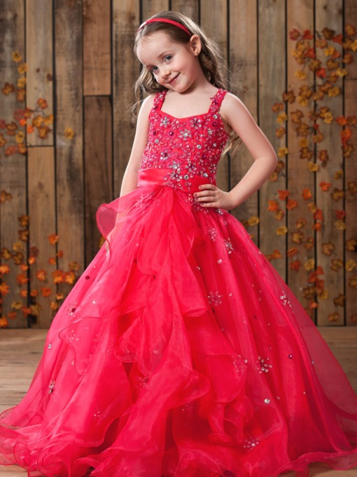 A-Line Straps Beading Sequin Flower Girl Dress