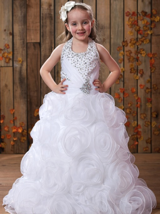 Ball Gown Halter Long Embellishing Flower Girl Dress