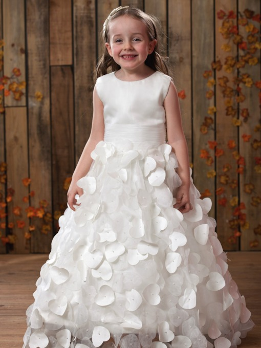 A-line Scoop Sleeveless Tea-length Patttern Flower Girl Dress
