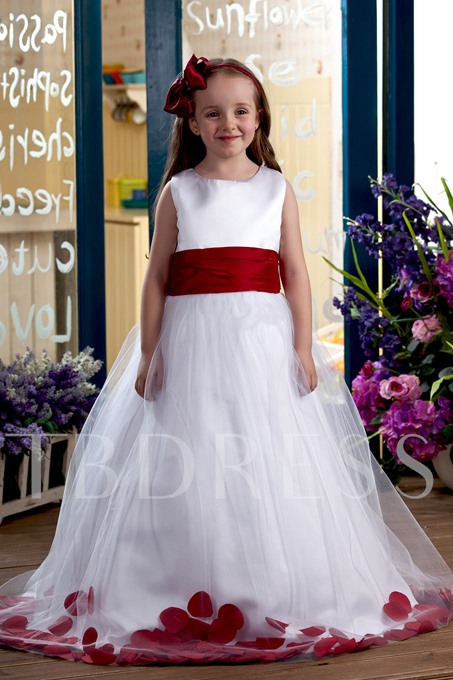 Ball Gown Ankle-length Scoop Appliques Flower Girl Dress