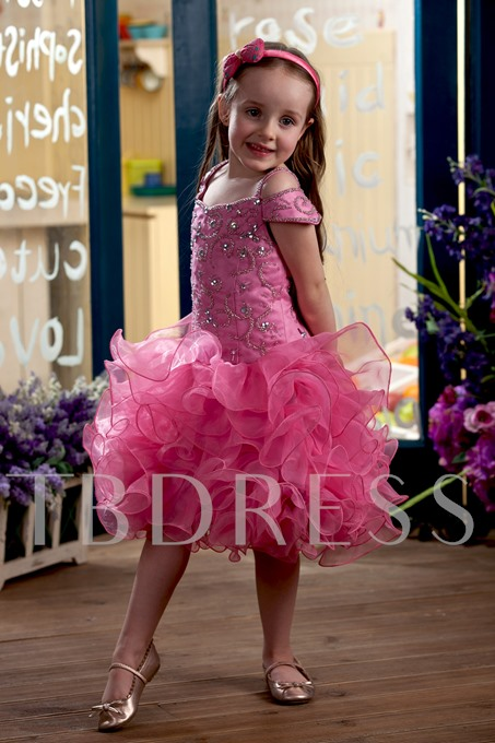 Cap Sleeve Beaded Ruffles Flower Girl Dress
