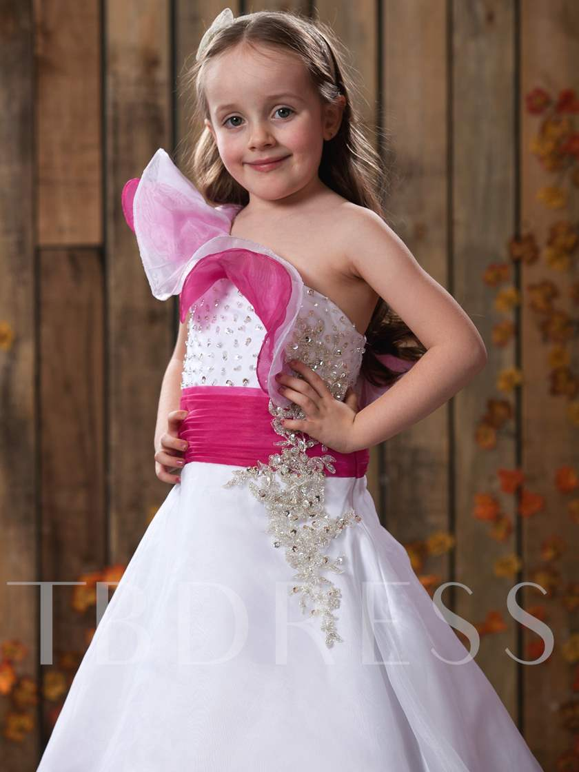 A-line Floral One-shoulder Floor-length Beaded Flower Girl Dress