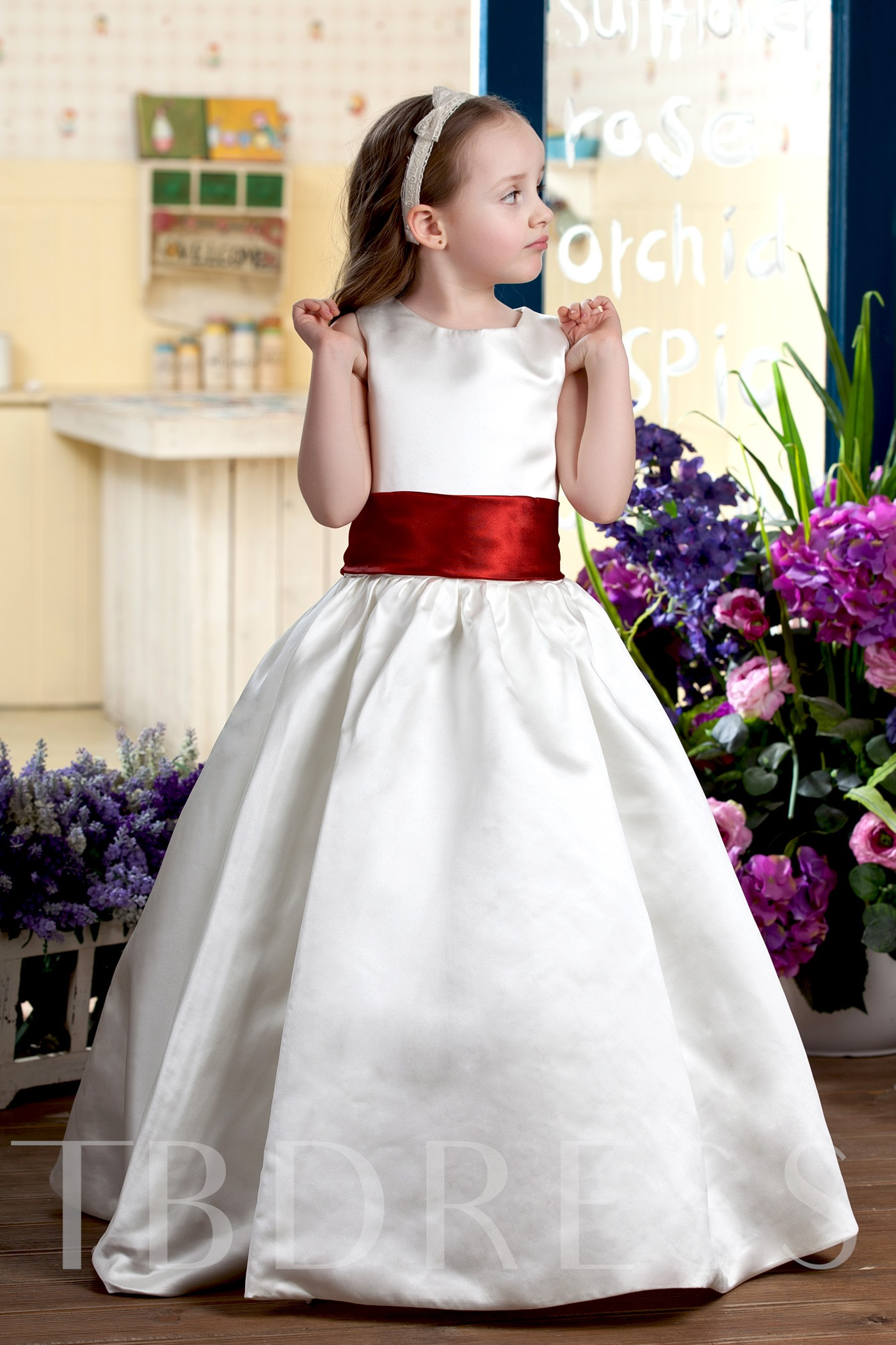 Image of A-line Round-neck Tea-Length Flower Girl Dress