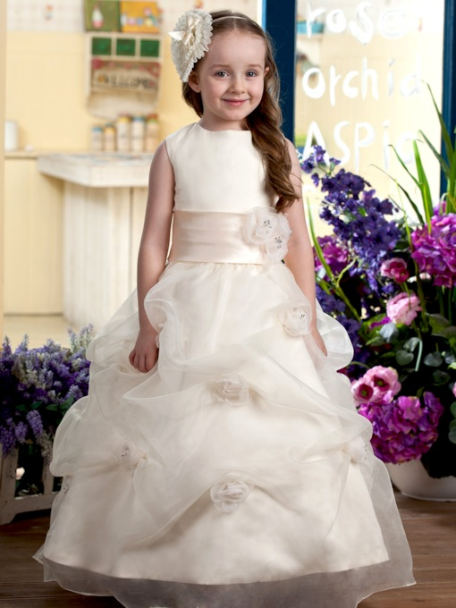 Straps Pick-Ups Flower Girl Dress