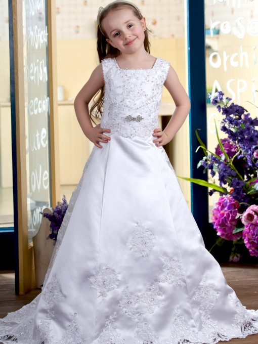 A-line Square Brush Train Satin Flower girls Dress