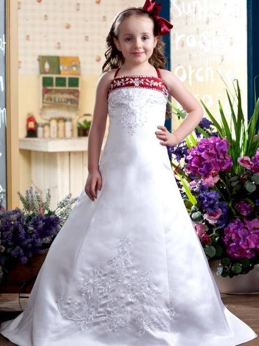 A-Line Spaghetti Straps Sleeveless Flower Girl Dress