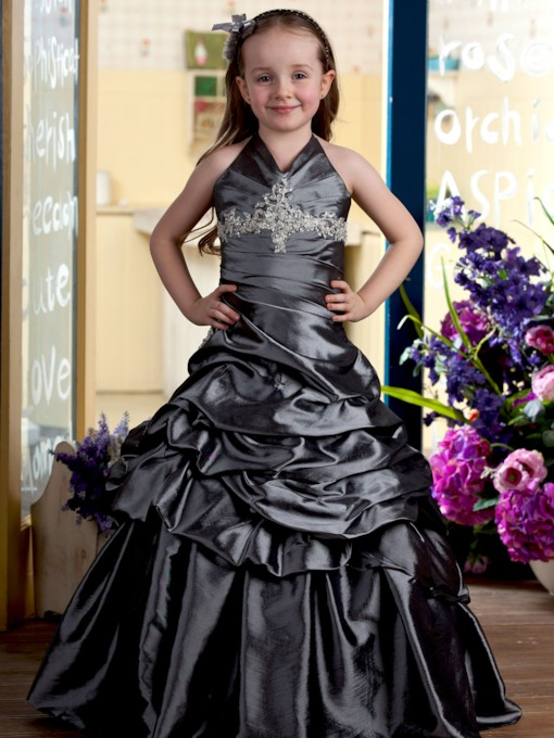 Floor-length A-line Halter Ruched Flower Girl Dress