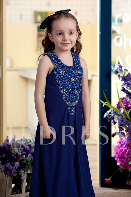 Beading A-line Floor-Length Straps Flower Girl Dress