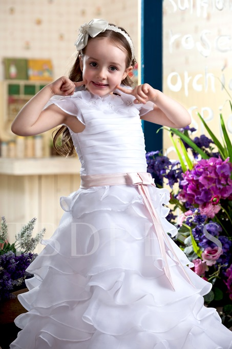Ball Gown Ankle-Length Capped-Sleeve Tiered Flower Girl Dress