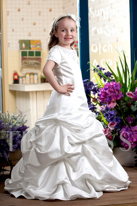 A-line Scoop Tiered Flower Girl Dress