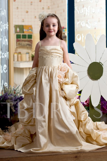Ball Gown Straps Flowers Girls Party Dress