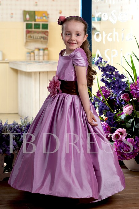 Tea-length Cap-sleeve Handmade Flower Embellishing Flower Girl Dress